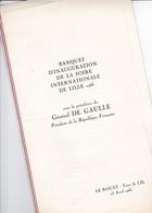 Général-de-Gaulle - Banquet D'inauguration Foire De Lille 1966 - Menus