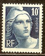 SUPERBE MARIANNE De GANDON N°726 10F Bleu NEUF Avec GOMME** - 1945-54 Marianne De Gandon