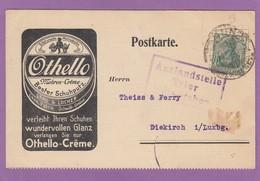 POSTKARTE MIT ZENSUR STEMPEL. SCHUHWICHSE,AUSFUHR NACH LUXEMBURG VERBOTEN. - Lettres & Documents