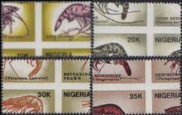 NIGERIA 1988 Shrimps Four In One SET:4 Stamps ERROR:perf.shift - Nigeria (1961-...)