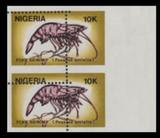 NIGERIA 1988 Shrimps 10K Stamp Size MARG.PAIR ERROR:perf.shift - Nigeria (1961-...)