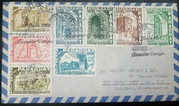 O)1955 PARAGUAY, RUINS-ARCHEOLOGY - ARCHITECTURE- JESUIT MONSIGNOR RODRIGUEZ, UPU, MULTIPLE COVER, XF TO USA - Paraguay