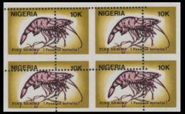 NIGERIA 1988 Shrimps 10K Stamps Size 4-BLOCK ERROR:perf.shift - Nigeria (1961-...)