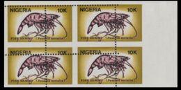 NIGERIA 1988 Shrimps 10K Stamps Size MARG.4-BLOCK ERROR:perf.shift - Nigeria (1961-...)