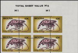 NIGERIA 1988 Shrimps 10K CORNER.4-BLOCK Stamp Size ERROR:perf.shift - Nigeria (1961-...)