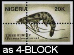 NIGERIA 1988 Shrimps 20K 4-BLOCK Stamps Size  ERROR:Perf Shift - Nigeria (1961-...)
