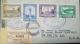 O) 1945 PARAGUAY, GOVERNMENT HOUSE AP47 40c- HEROES OF ITORORO AP46 30c - ANTEQUERA AP44 10c - BORTHPLACE LIBERATION AP4 - Paraguay