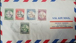 O) 1950 PARAGUAY, UPU -SYMBOLS, HAND, MEANS OF MAIL TRANSPORTATION, AIRMAIL TO USA - Paraguay