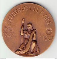 Médaille, CENTENAIRE DE L'A. I. L. G. 1847- 1947, JEAN LEDOUX, Poids 90 Gr Bronze.(OM15) - Unclassified