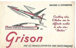 """Buvard GRISON / Entretien Des Chaussures / Avion Atomique """"ESPADON XS1"""" - Wash & Clean"""