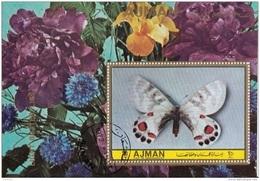 Ajman 1972 Farfalle Light Butterflies Papillons Sheet Perf. Peonie Fiori Flowers CTO - Ajman