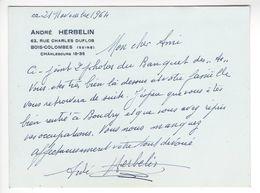 ANDRE HERBELIN (1889 - 1966) AUTOGRAPHE ORIGINAL AUTOGRAPH 1964 AVIATION AVIATEUR /FREE SHIPPING REGISTERED - Autographes