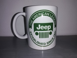 TASSE Ceramique MUG COFFEE WW2 4x4 JEEP WILLYS MILITARIA AMERICAN LEGEND CALANDRE Vert - Véhicules