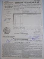 Document De 1907 : Autorisation D' Éclairage Par Le Gaz, Préfecture De La Seine - Vieux Papiers