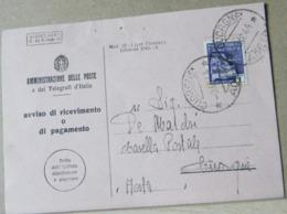 MONDOSORPRESA,(IP141) CARTOLINA AVVISO DI RICEVIMENTO, 1L. VIOLA MONTECASSINO, ANNULLO CUORGNE' - 4. 1944-45 Repubblica Sociale