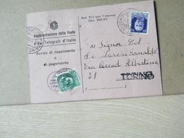MONDOSORPRESA,(IP143) CARTOLINA AVVISO DI RICEVIMENTO, 50C. EFFIGE VIOLA FASCI + MARCA DA BOLLO, ANNULLO TORINO N°20 - 1900-44 Vittorio Emanuele III