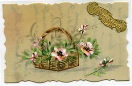 CPA - Cartes Postale - Fantaisie - Carte Transparente - Peinte à La Main - Bonne Année - Fleur  ( CP4784 ) - Nieuwjaar