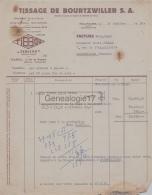 68 539 MULHOUSE HAUT RHIN 1951 TISSAGE DE BOURTZWILLER Marque TIBLINE A LOUIS DELMAS De MONTPELLIER - France