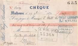 68 609 MULHOUSE HAUT RHIN 1871 Cheque PHIL. Et JACQ. BERNHEIM  Tampon J. WAHL - Chèques & Chèques De Voyage