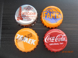 4 Different Capsules From Turkey Turquie Coca Cola Fanta Tamek And Nigde Helal Gazoz - Soda