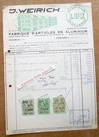 """2 Documents """"Fabrique D'Articles En Aluminium, J. Weirich, Dudelange 1957"""" - Luxembourg"""