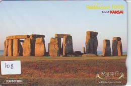 PHONECARD JAPAN * STONEHENGE (108) COUNTRY RELATED *  TELEFONKARTE - Landscapes