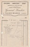 Facture Epicerie Mercerie Débit-Germont Lambert à Dame Marie.Orne. - France