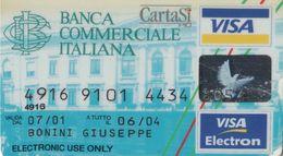 SCHEDA CARTA DI CREDITO VISA SCADUTA BANCA COMMERCIALE ITALIANA - Assegni & Assegni Di Viaggio