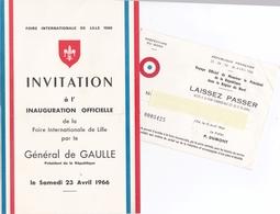 LILLE - GENERAL-DE-GAULLE - Lot De Documents Foire De Lille - Invitation 1966 - Historical Documents