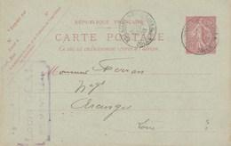 Entier Postal Yvert 129 CP1 Date 520 Entête Déal Cachet BELMONT De La Loire 29/9/1905 Pour Arcinges - Ganzsachen