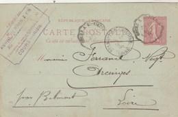 Entier Postal Yvert 129 CP1 Date 511 De Cours Rhône Cachet Ambulant Convoyeur Cours à St Victor 1905 Pour Arcinges Loire - Ganzsachen