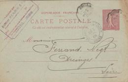 Entier Postal Yvert 129 CP1 Date 435 De Cours Rhône Cachet Ambulant Convoyeur Cours à St Victor 1905 Pour Arcinges Loire - Postal Stamped Stationery