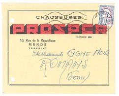 Carte Pub Chaussures Prosper, Mende ( Lozère ), Adressée Aux Ets Cygne Noir à Romans - Publicités
