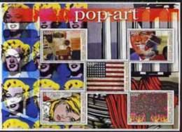 56085 Comoro Islands 2005 Paintings (Pop Art) Large Perf Sheetlet (arts Flags Kennedy Monroe) U/m 5 Values - Comores (1975-...)