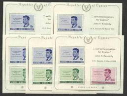 1965 Cipro Cyprus  KENNEDY  5 Foglietti Di 3 Valori MNH** 5 Souv. Sheets - Kennedy (John F.)