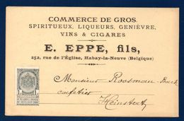 Belgique. Carte Postale E. EPPE , Habay La Neuve. Commerce Spiritueux, Liqueurs, Genièvre, Vins & Spiritueux . Ca 1900 - Belgium