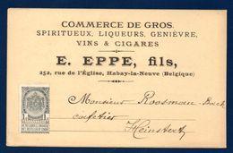 Belgique. Carte Postale E. EPPE , Habay La Neuve. Commerce Spiritueux, Liqueurs, Genièvre, Vins & Spiritueux . Ca 1900 - 1800 – 1899