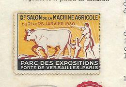 Lettre 1929 Avec Vignette Salon Agricole 1930 / 90 BELFORT / Etab. BOREL / Huiles Et Graisses/ Charrue Boeuf - Vignetten (Erinnophilie)