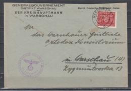II.WK Generalgouvernement  Vordruckbrief Durch Deutsche Dienstpost Osten Der Kreishauptmann In Warschau EF D 31 - Besetzungen 1938-45