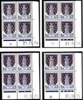 France 1962 - N° 1351A - 4 Blocs De 4 - Coins Datés Différents - Neuf** (Lots 2 à 5) - Dated Corners