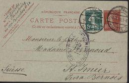 Entier 10c Semeuse Camée Rouge Storch E1 Cachet Allemand Strassburg 2 1 19 ELS 1 Censure Contrôle Autorité Militaire - Marcophilie (Lettres)