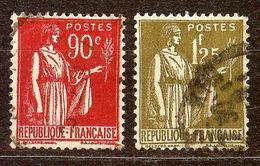LOT PAIX N°285 90c Rouge & N°287 1F25 Olive Oblitérés Cote 7,70 Euro - 1932-39 Paix