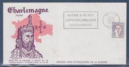 = Noyon Flamme 19.9.66 Exposition Philatélique Charlemagne Timbre 1282a Sacré Roi De Neustrie à Noyon En 768 - Lettres & Documents