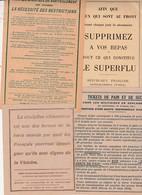 Tickets Rationnement 14/18 / Lot De 4 Planches Complètes Différentes / Recommandations Gouvernement - 1914-18