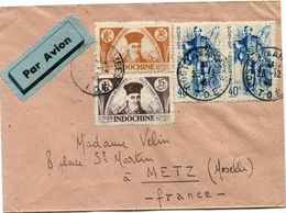 INDOCHINE LETTRE PAR AVION DEPART POSTE AUX ARMEES 23-12-4(5) T.O.E. POUR LA FRANCE - Indochina (1889-1945)