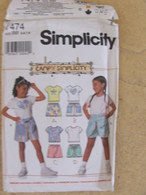 Patron Short Et Haut En Jersey Pour Enfant - Simplicity Réf 7474 - Patrons