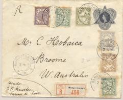Nederlands Indië - 1914 - 6 Zegels Op 10 Cent R-Envelop Van KB BANJOEWANGI Via KB NI POSTAGENT SINGAPORE Naar Broome - Nederlands-Indië