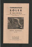 SOLEX Notice N° 27B Carburateur à Alcool - Old Paper