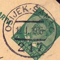 YUGOSLAVIA - JUGOSLAVIA - RAILWAY Postmark  OSIJEK   ŠAMAC  217 - Vladislavci To Zagreb - 1936 - 1931-1941 Kingdom Of Yugoslavia