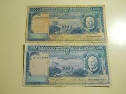 Lot 2 Banknotes 1000 Escudos 1970 Portuguese Angola - Monete & Banconote
